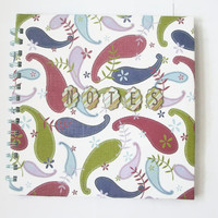 """Stationary Spiral-bound Notebook paisley print papers floral 8"""" x 8"""" Office School home wear"""