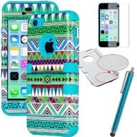 ULAK [ 3 in 1 Shield Series ] Hybrid Tribal Patterned Case for Apple iPhone 5C with Soft Silicone Inner Case and Hard PC Outer Case Cover (Green tribal / Blue Silicone)