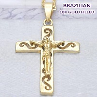 Gold Layered Men and Women Crucifix Religious Pendant, by Folks Jewelry