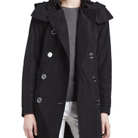 Trenchcoat with Removable Hood, Black, Size: