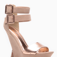 Bamboo Nude And Rose Gold Detailed Wedges