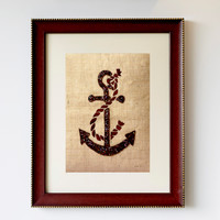 Handcrafted Wall Decor Wall Art with Sequins Anchor on Burlap