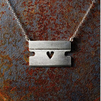 """Razor Blade Necklace with Heart and 18"""" Chain"""