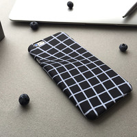 Fashionable Abstract Phone Case/ Tridimensional Twisted Grid iPhone Case/Black and Clear Grid Phone Case/Squared Trendy Design