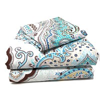 Tache Cotton Frozen Forest Blue Paisley Duvet Covers Set (2172)