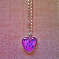 Silver arrow and heart glass dome heart necklace for tween or teen girl