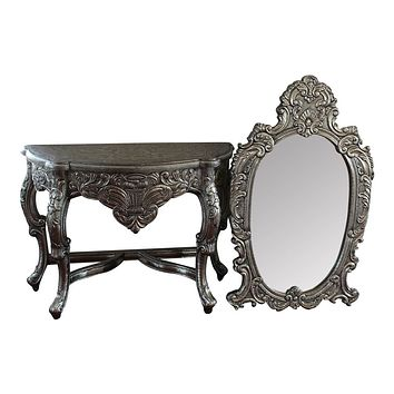 Blackened Silver Royal  Dressing Table  & Mirror set