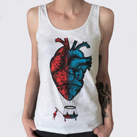 Women's Tank Top -colored Anatomical heart-hot air balloon print. Screenprinting of a handmade design. Melange white