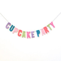 Cupcake Party felt wall banner, felt party banner, colorful wall hanging in lavender, teal, pink, bright melon, and lime green