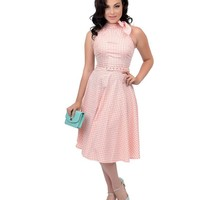 Voodoo Vixen 1950s Style Coral Pink & White Gingham Chelsea Halter Swing Dress