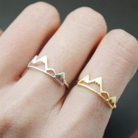 Snow Mountain Ring   Open Cuff