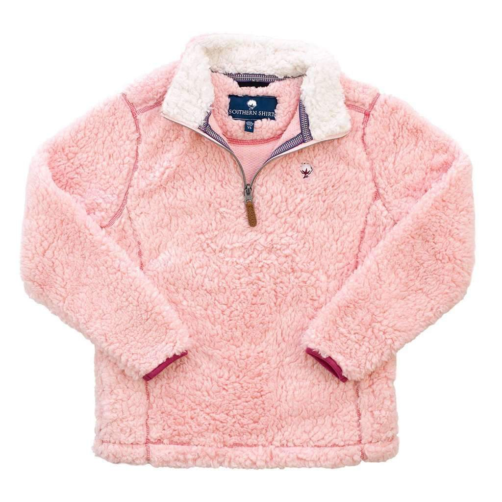 Image of YOUTH Sherpa Pullover with Pockets in English Rose by The Southern Shirt Co.