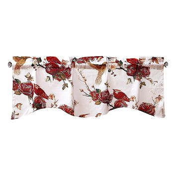 Tache Cotton White Burgundy Sheer Scalloped Window Treatment Hummingbirds Rose Garden Valance (JHW-936)