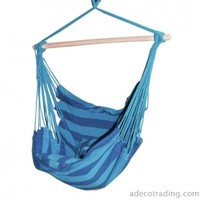 Adeco Naval-Style Cotton Fabric Canvas Hammock Tree Hanging Suspended Outdoor Indoor Chair Royal Blue Color 17 inches Wide Seat