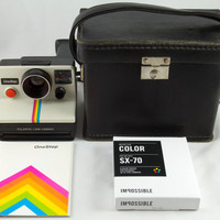 Vintage Polaroid OneStep SX-70 White Rainbow Stripe Instant Land Camera with Case Manual and 1 Pack Impossible Project Film Tested & Working