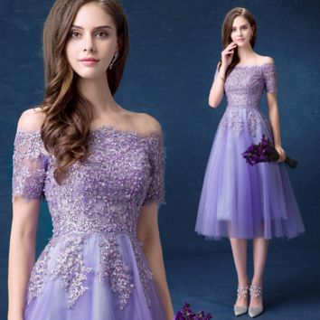 Purple bride bridesmaid dress short dinner party wedding dress