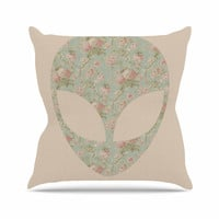 "Alias ""Floral Alien"" Pink Teal Throw Pillow"