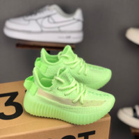HCXX 19July 239 Adidas Yeezy Boost 350v2  kid Flyknit Transparent Logo Insole Sports Casual Sneakers Fluorescent green