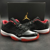 Free Shipping Nike Air Jordan 11 Low Bred With Receipt XI Retro Black Red 528895-012 Basketball Sneaker