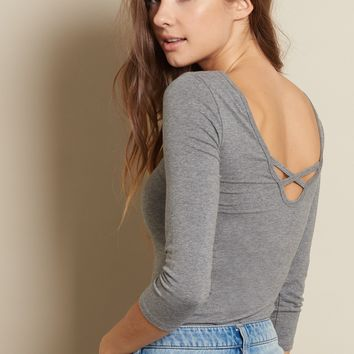 Low Back Lace Up Ballerina Top