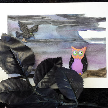 """Hand Painted Halloween Greeting Card """" Happy Owl - A - Ween """" by SamIamArt"""
