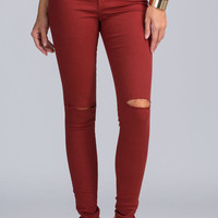 Daily Dose Slit Pants Jeans - Burgundy- FINAL SALE