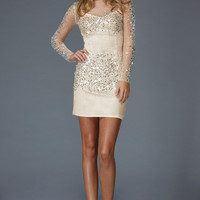 G2135 Long Sleeved Jeweled Cocktail Dress