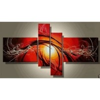 100% Hand Painted Oil Painting Abstract Lines Rising Sun Modern Art Wall Art Deco Home Decoration (Unstretch No Frame) G01