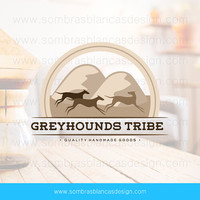 OOAK Premade Logo Design - Running Greyhounds - Perfect for a male accessories brand or a handmade leather bags shop