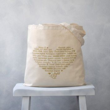 SALE - LOVE Languages Tote Bag - Gold on Natural - Cotton Canvas