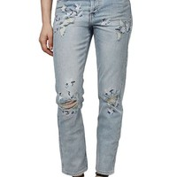 Topshop 'Stork' Ripped & Embroidered Crop Straight Leg Jeans | Nordstrom