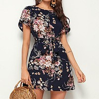 Navy Floral Print Petal Sleeve Belted Tunic Shift Dress Women Short Sleeve Ladies Straight Short Dresses