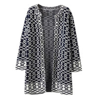 Geometric Print Knitted Cardigan
