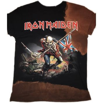 Hand Bleached Iron Maiden Band Tee