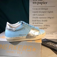 Golden Goose Ggdb Hi Star Sneakers In Sky Blue Leather And Silver Leaf Strap-1
