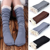 Women Fashion Crochet Knitted Lace Trim Toppers Cuffs Leg Warmers Boot Socks = 1705625924