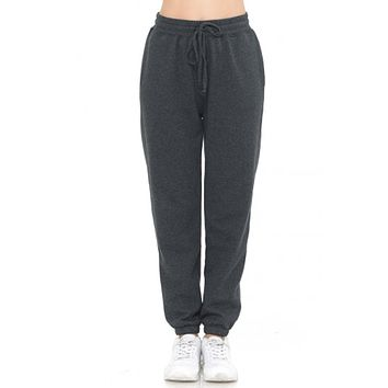 Elastic Waist Cuffed Fleece Jogger Pants
