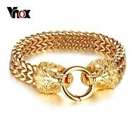 "Vnox Rock Double Lion Head Herringbone Chain Bracelet for Men Stainless Steel Gold Tone Hip Hop Punk Male Jewelry 8.85"" Macchar Cosplay Catalogue"