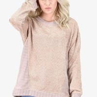 Oversized Soft Knit + Side Contrast Sweater {Taupe} - Size LARGE