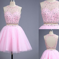 Open Back Two Pieces Halter Pink Homecoming Dress with Beadings