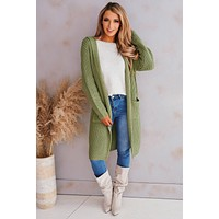 Save The Day Hooded Knit Cardigan (Sage)
