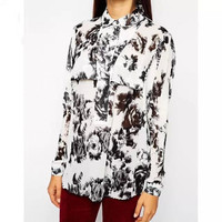 White And Black Floral Print Long-Sleeve Button Collared Shirt