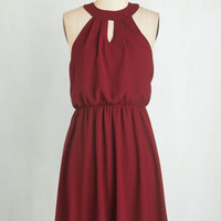 Mid-length Sleeveless A-line City Sway Dress in Wine