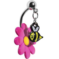 Pink Flower Belly Button Ring -  Dangle Bumble Bee - 316L Surgical Steel