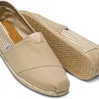 TOMS Shoes University Rope Sole Classic Khaki Canvas Slip-on Men's Shoes,