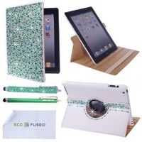 Eco-Fused 360 Rotating Faux Leather Bling Case Bundle for iPad 4, 3, 2 / Bling Stylus Pen / Long Stylus Pen / Microfiber Cleaning Cloth / Cute Rhinestone Cover Perfect for Girls