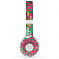 The Vibrant Green & Coral Floral Sketched Skin for the Beats by Dre Solo 2 Headphones