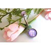 Illuminating Glowing Purple Round Belly Button Ring