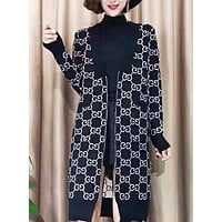 GUCCI & Fendi New fashion more letter print long sleeve cardigan coat women
