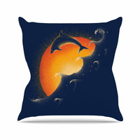"Barmalisirtb ""Welcomes Sunrise"" Blue Orange Throw Pillow"